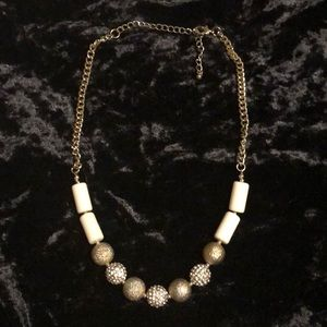Crystal and Gold Tone Metal Necklace